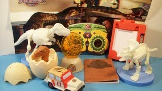 2013 JURASSIC PARK 3D SET of 8 BURGER KING KID'S MEAL TOY'S VIDEO REVIEW