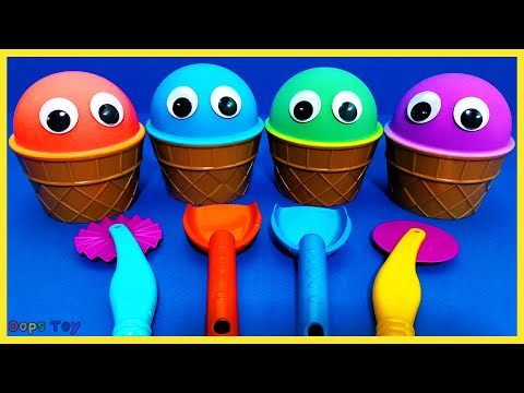 4 Colors Kinetic Sand Ice Cream Cups Kids|PJ Masks Minions Surprise Eggs Clay Toys|OOPS TOY ART ★