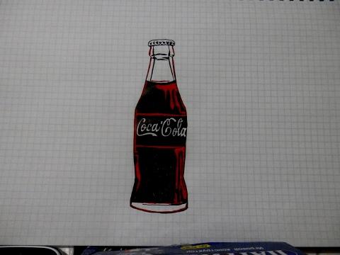Как нарисовать бутылку кока колы