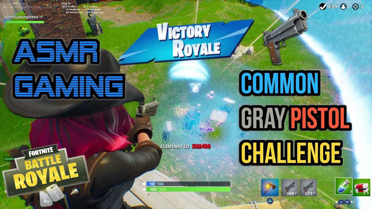 ASMR Gaming | Fortnite Only Common Gray Pistol Challenge ★Controller Sounds + Whispering☆