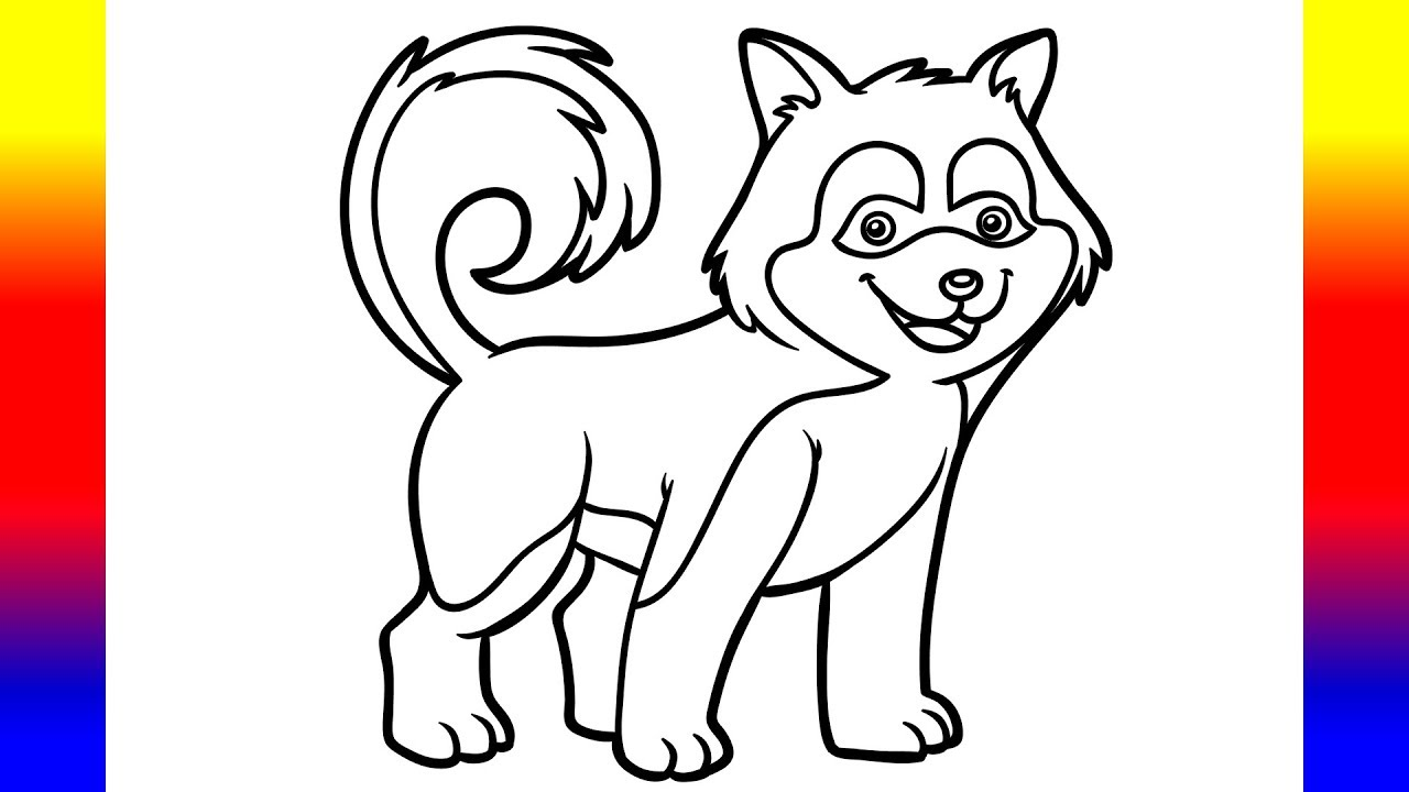 Coloring for Kids with Husky Dog Puppy - Coloring Pages for Children