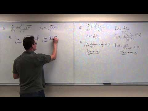 Calculus 2 Lecture 9.5:  Showing Convergence With the Alternating Series Test, Finding Error of Sums