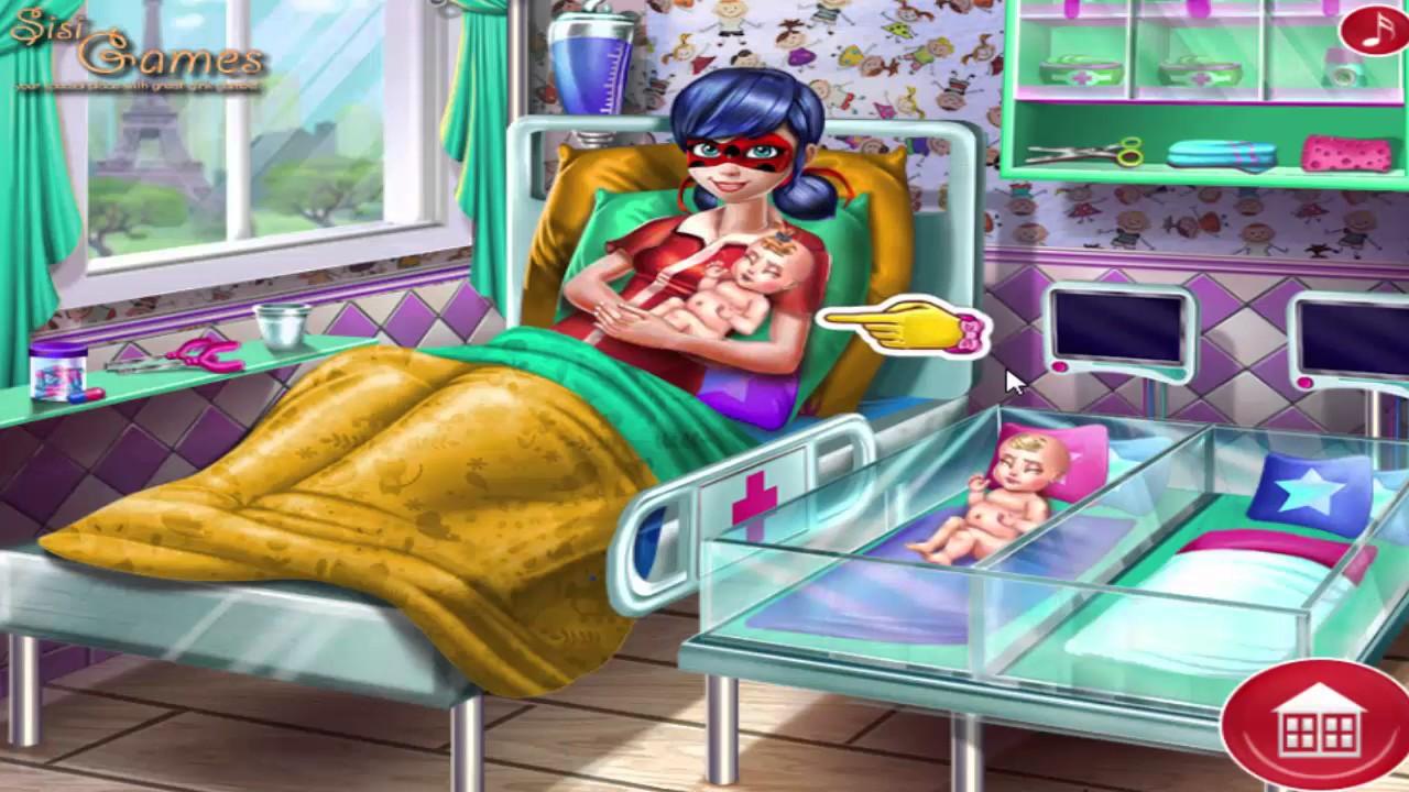 Игры для девочек леди баг и супер кот рожает