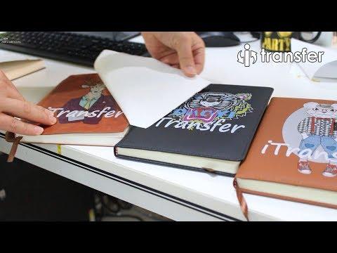 i-Transfer® laser heat transfer paper PU PVC Leather customized on Notebook