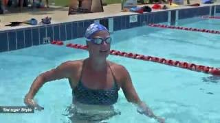 "Swimming Olympian Anna Karin Lundin in action trying ""Smooth"" and ""Swinger"" stroke styles."