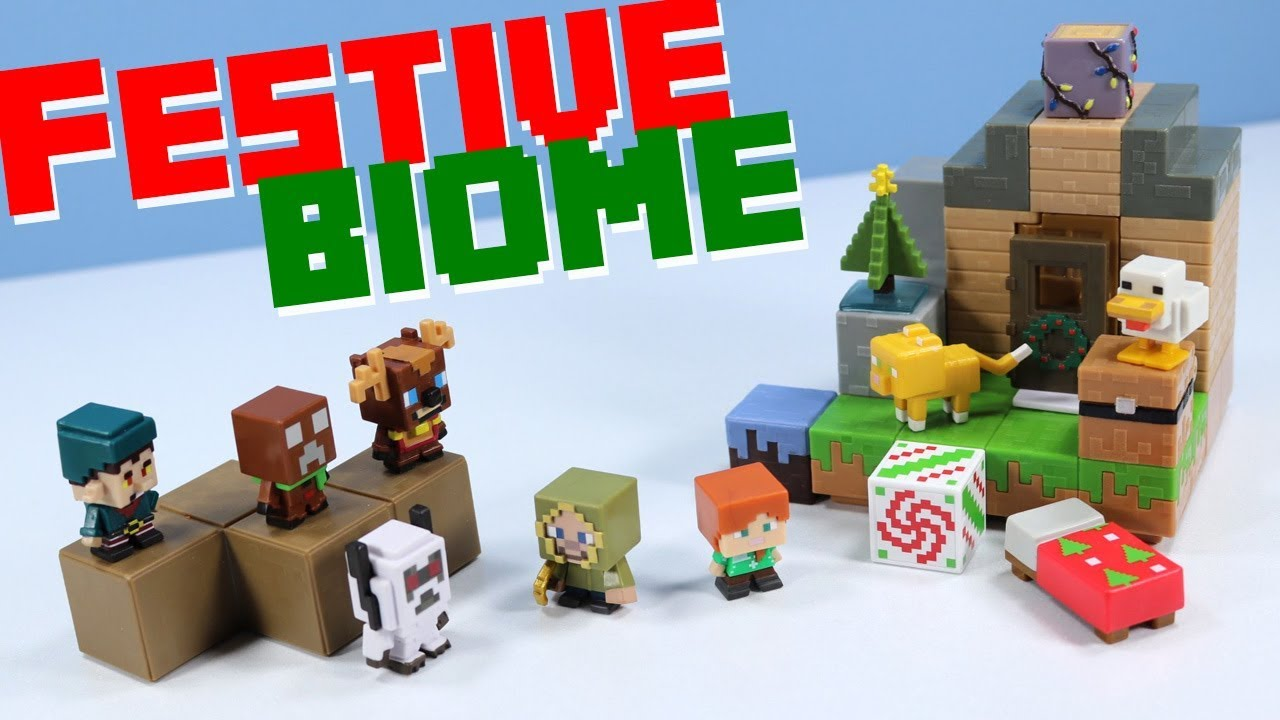 Minecraft Mini Figures Festive Biome Pack Review Christmas