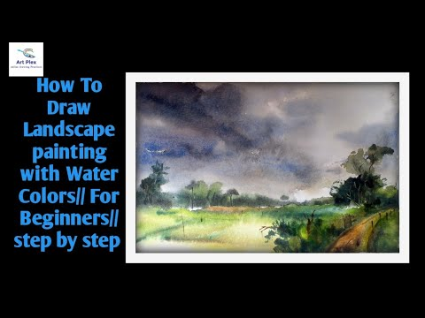 How To Draw Landscape painting- with Water colors//For Beginner/Step By Step ..🔥🔥🔥