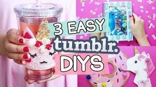 3 easy Tumblr DIYs ◆ Einhorn Deko 🦄  & Flüssiges Notizbuch 💦  selber machen