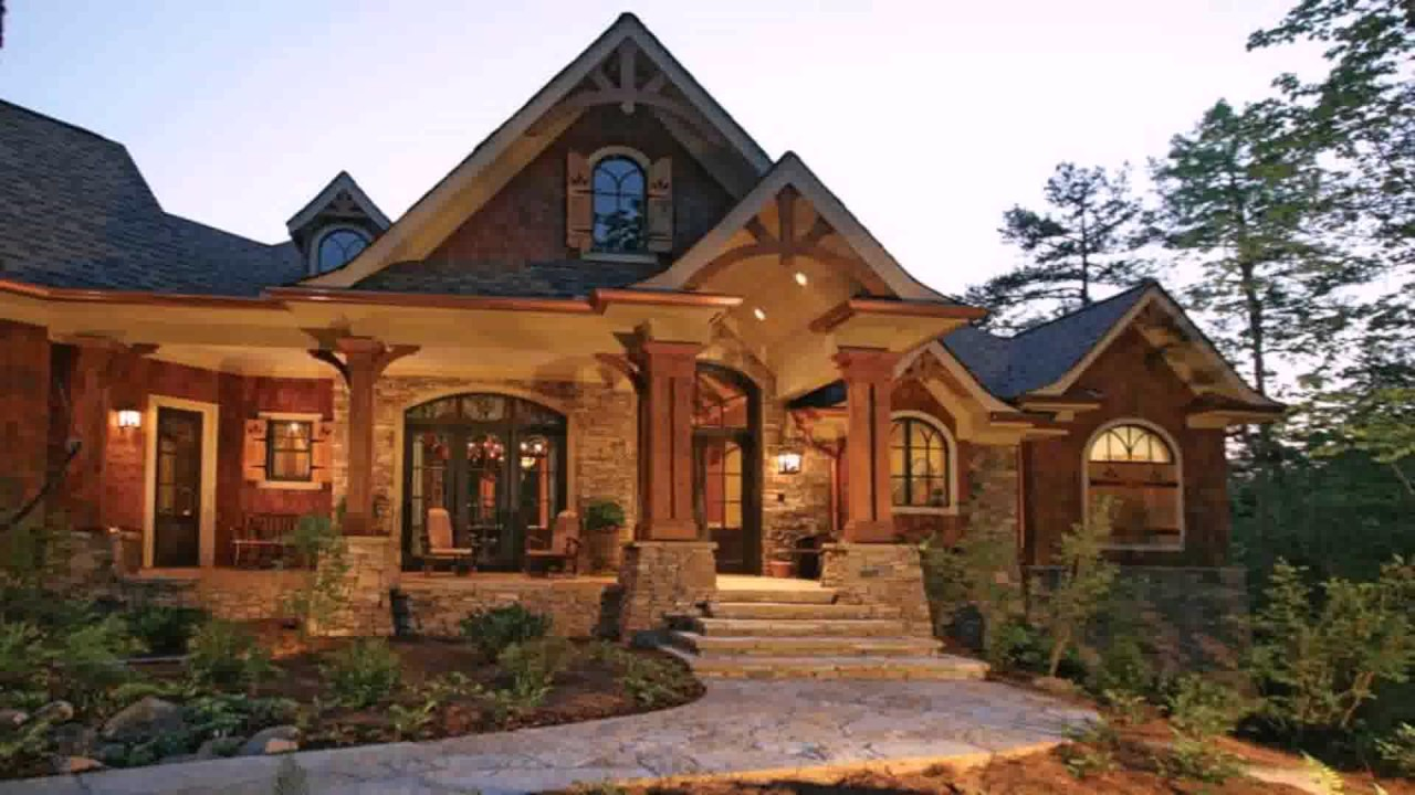 Craftsman style house with large front porch youtube for Large craftsman style home plans