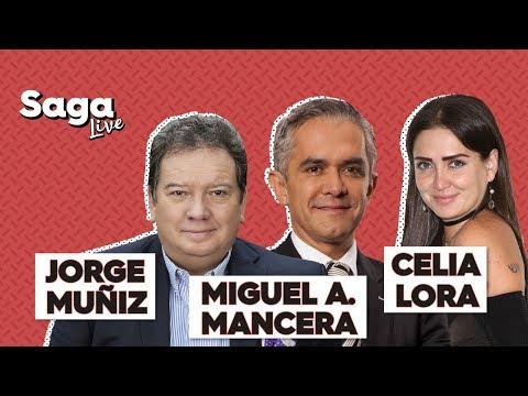 #SagaLive Celia Lora, Jorge Muñiz y Miguel Ángel Mancera con Adela Micha