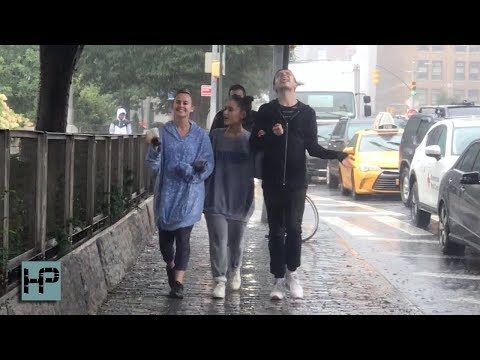 Ariana Grande - First Outing Since Mac Miller's Death - Gets Caught In A Rain Storm