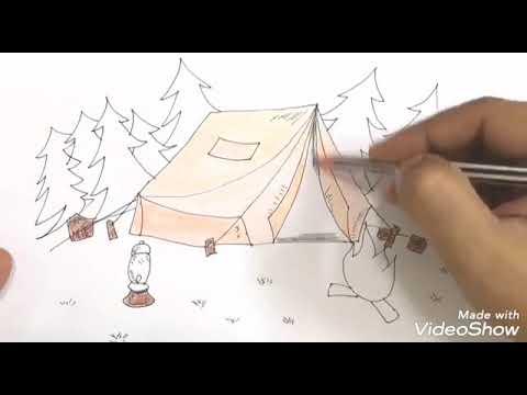 كيفية رسم معسكر صيفي مع خيمة النار والأشجار في الخلفية خطوة بخطوة Youtube