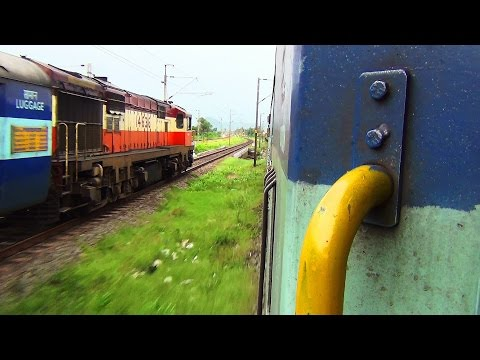 Indian Railways high speed Diesel vs Electric parallel action : AJJ WAM4 6P vs VSKP WDG 3A