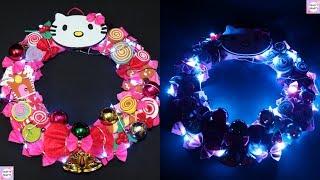 Hello Kitty Wreath / DIY Hello kitty Christmas Wreaths / Diy pink Wreaths / How to make Wreaths