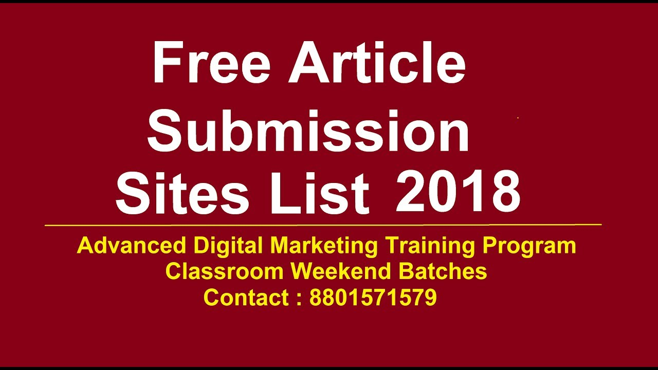 Free Article submission sites list 2018 | Top article submission sites