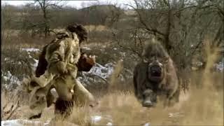 rinoceronte lanudo ataca a neanderthal