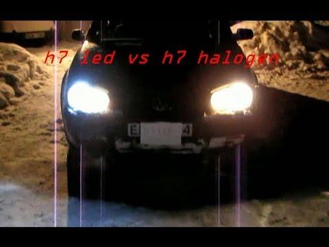 Test H7 Led 12 Watt Vs H7 Halogen 55 Watt At Night Mp4
