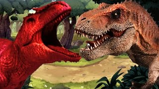Dinosaurs Cartoons for Children - Dinosaur T Rex Vs Dinosaur Giganotosaurus Learn Colors with Gummy