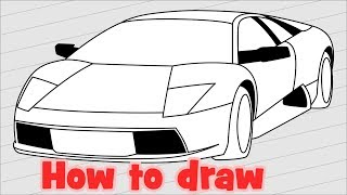 How to draw a car Lamborghini Murcielago 2001