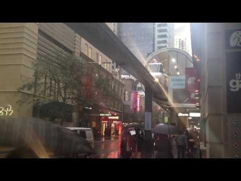 Monorail in the rain