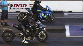 H2 vs ZX14 vs GSXR - superbikes drag racing