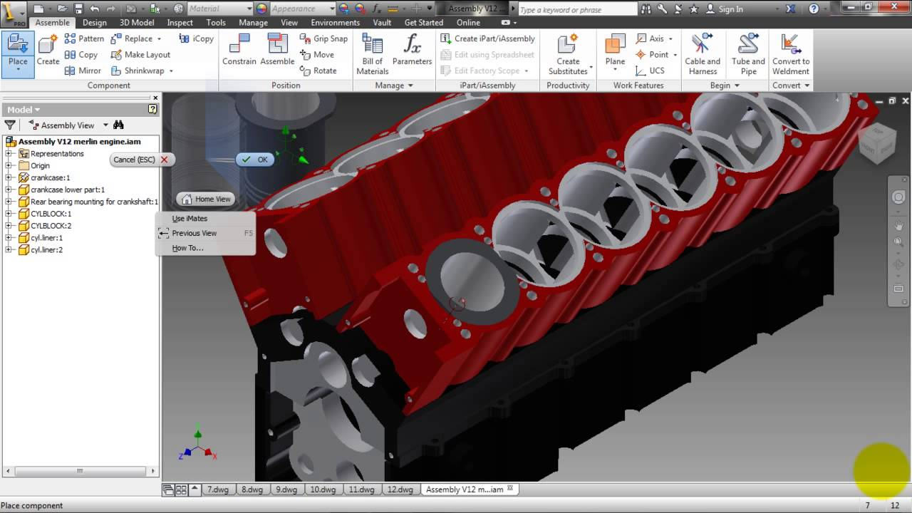 Autodesk Inventor 2013 v12 merlin engine Small Assembly pt10 - YouTube