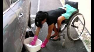 My car is filthy from my camping extravaganza so I fill a washing u...