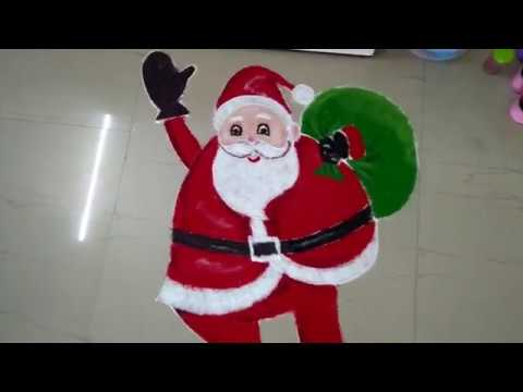 How to draw Santa Claus Rangoli for Kids 1 #santaclaus #santa #christmas #rangoli