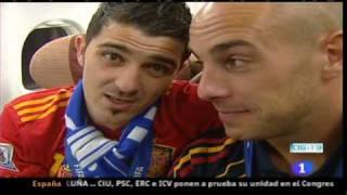 La Selección Española en el avión. Imágenes de TVE.