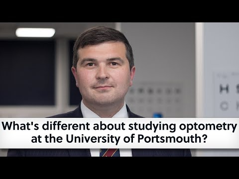 What's different about studying optometry at the University of Portsmouth?