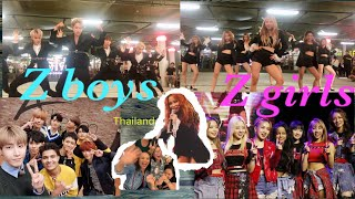 z-boys and z-girls cute moments after Busking in Lido Connect Thailand