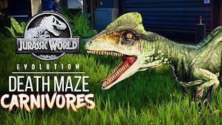 CARNIVORES ENTER THE DEATH MAZE - DISASTER! | Jurassic World: Evolution Maze Challenge