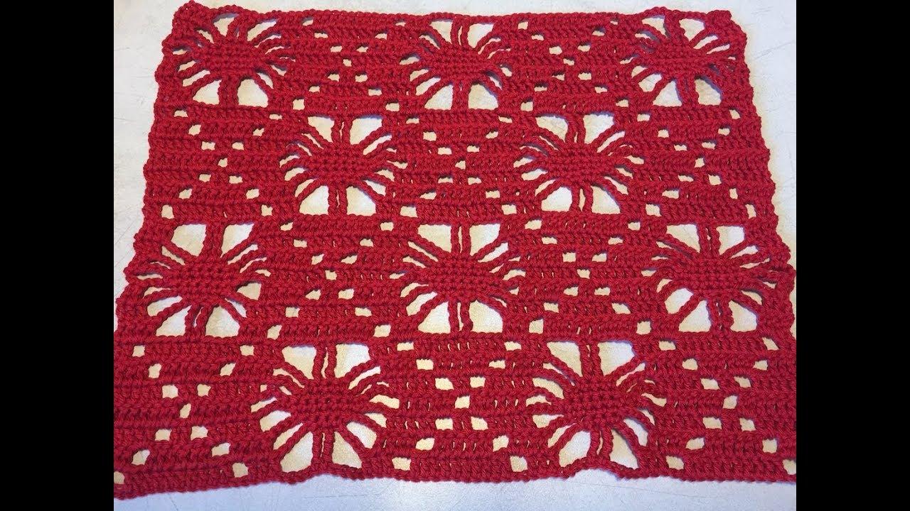 Tuto Motif Pour Couverture, Rideaux, Chemin De Table Au Crochet Spécial  Gaucher 1/2