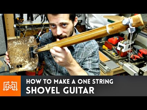 Shovel Guitar (one string, fretless) // How-To