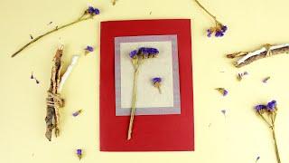 Открытка с аппликацией из сухих цветов своими руками