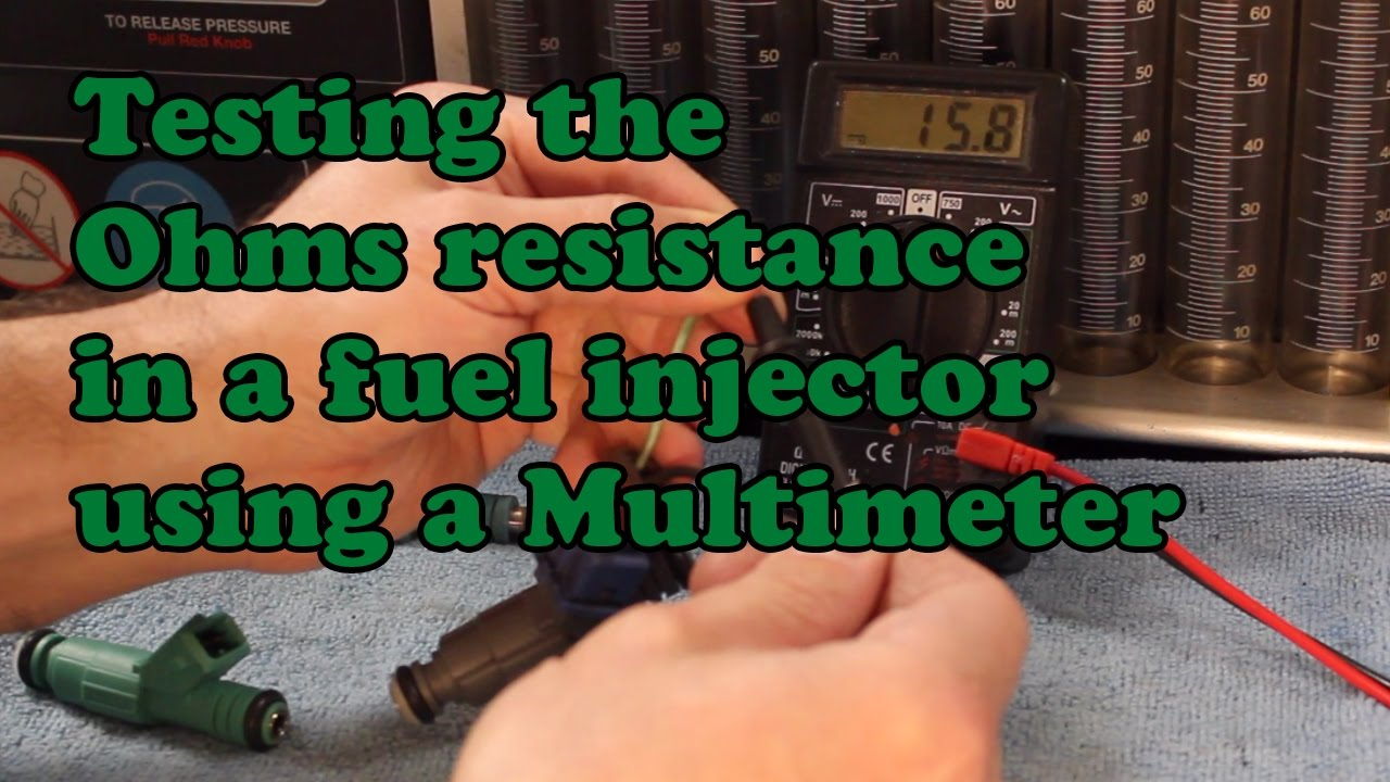 Testing the Ohms resistance in a fuel injector using a Multimeter