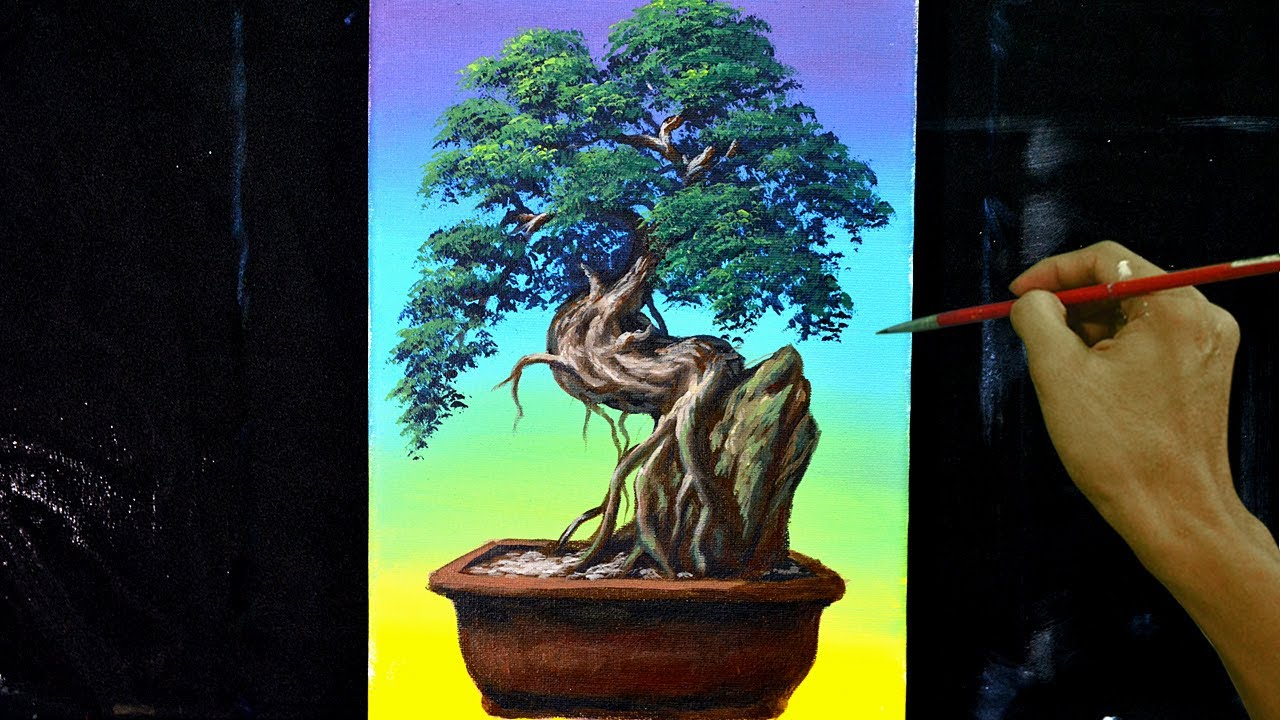 How To Paint Bonsai Tree In Acrylics Step By Step Painting Tutorial Youtube