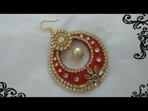 Silk thread earrings|Silk thread chandbali|Earrings making at home|Party wear earrings|Handmade