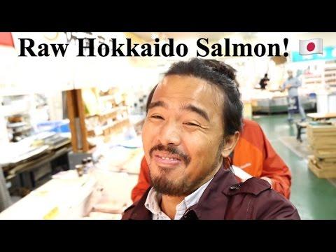 Eating Raw Hokkaido Salmon!