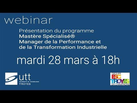 """Webinar MS® """"Manager de la Performance et de la Transformation Industrielle"""""""