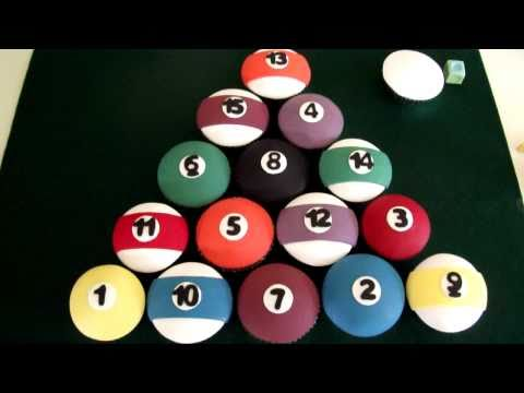 Billiard ball cup cakes by