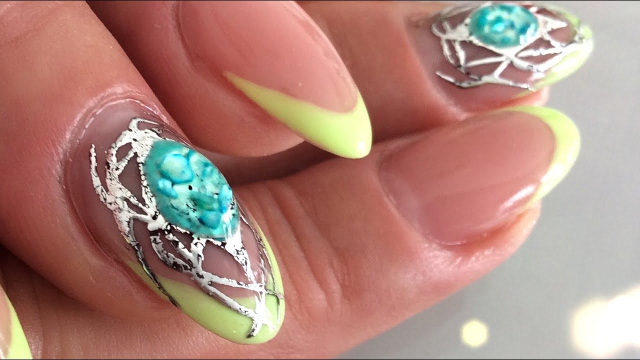 Stunning Liquid Gemstone Design Morror Shine Nail Art By A You