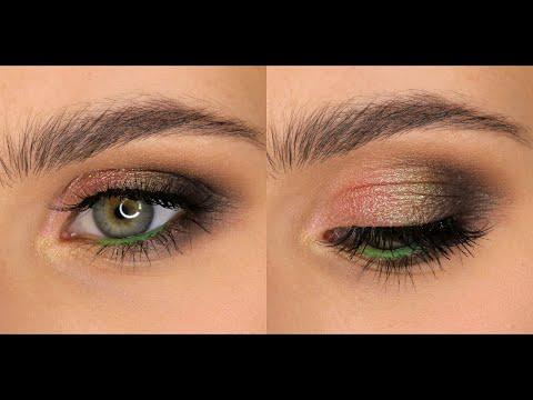 Макияж с пигментами в карандашной технике для зелёных глаз