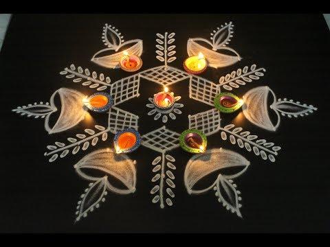 Diwali Deepam Muggulu With 9 Dots || Easy Rangoli Designs || New Festival Kolams