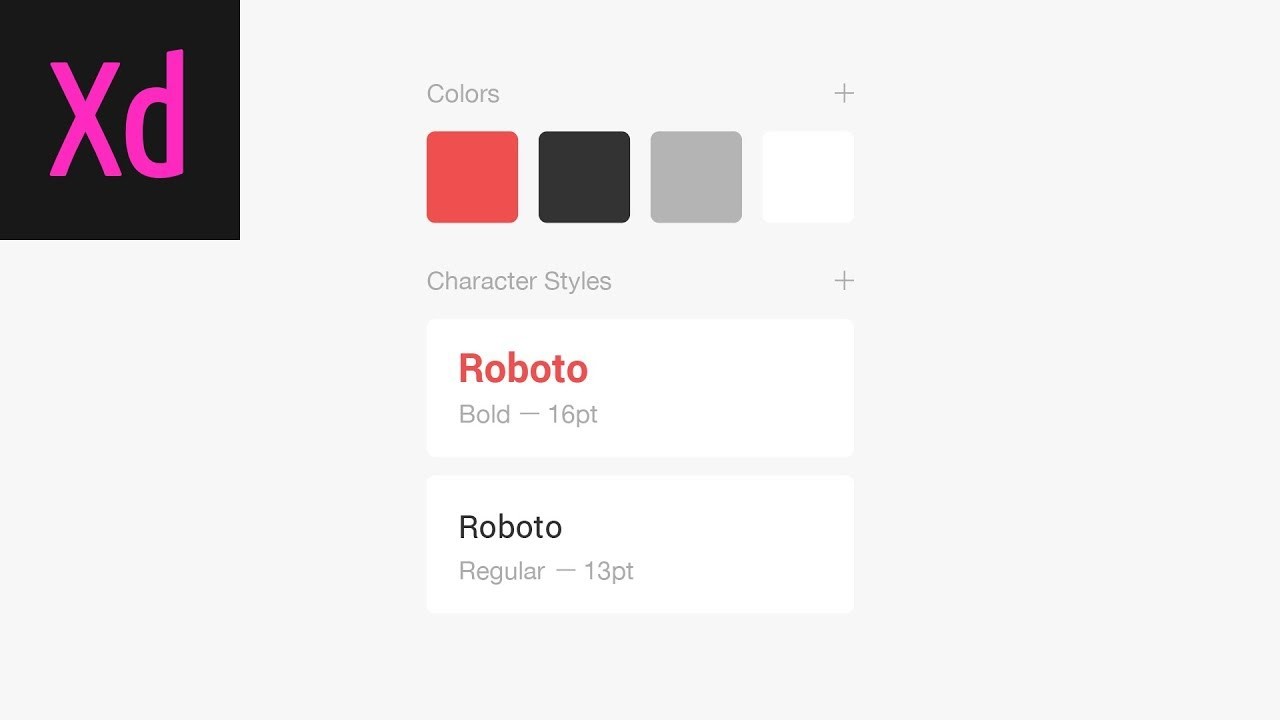 Color & Character Styles Adobe XD Tutorial