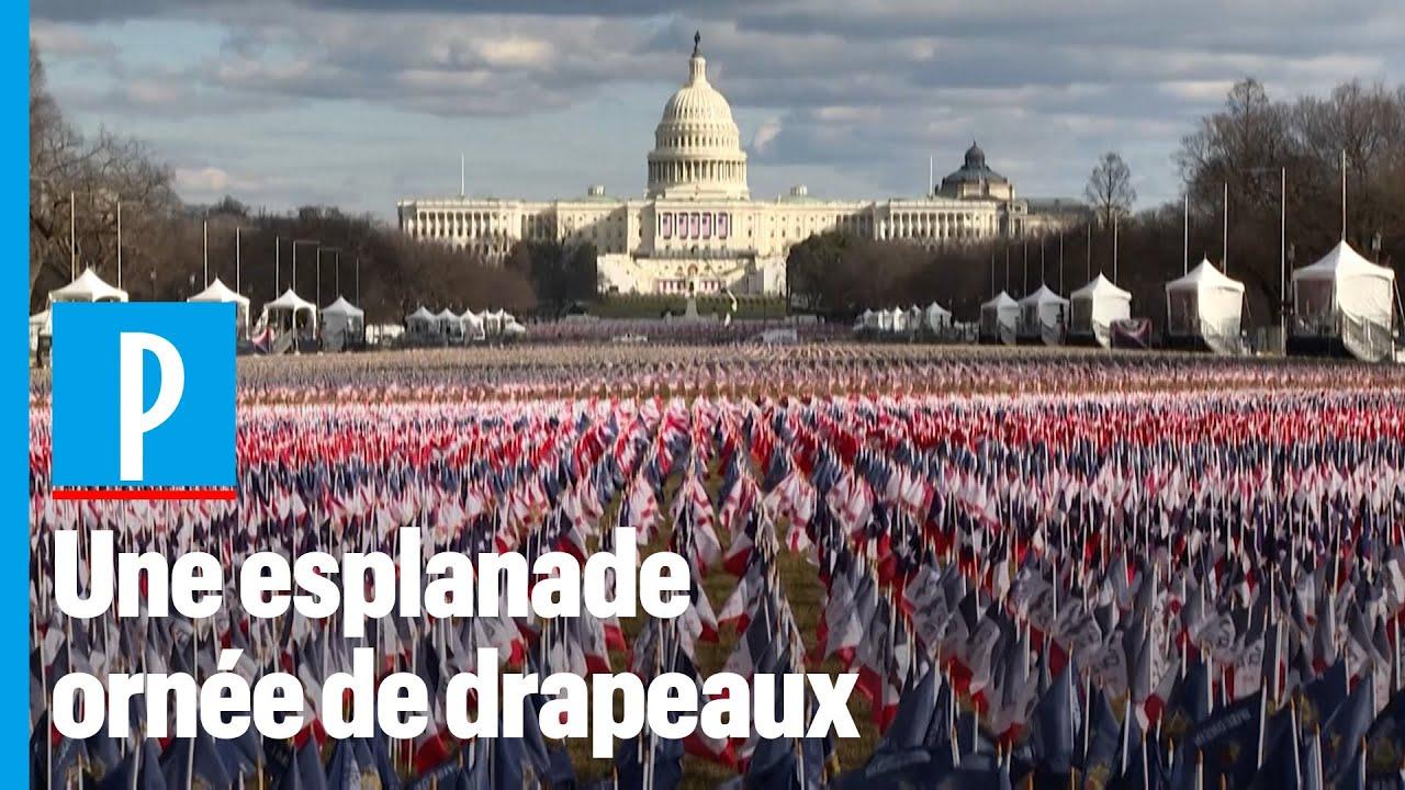 Investiture de Joe Biden : des milliers de drapeaux américains en guise de  foule - YouTube