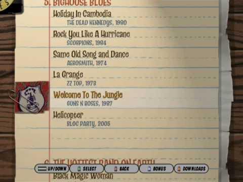 Guitar Rock Tour  Song List
