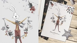 The process of creating Christmas Cards • Photoshop