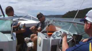 Touring Pittwater, Sydney in the Sports Rider From Boab Boat Hire.