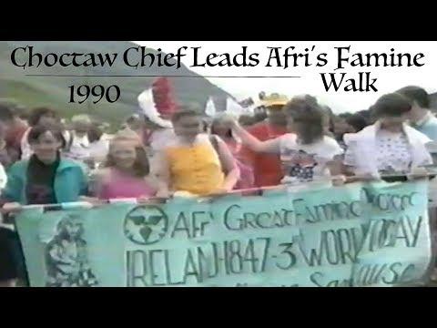 Choctaw Chief Leads Afri's Doolough Famine Walk 1990